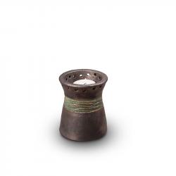 Keramiek mini urn metallic zilver met jade band met waxinelichthouder KU304K}
