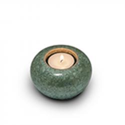 Keramiek groene mini urn met waxinelicht KU301K}