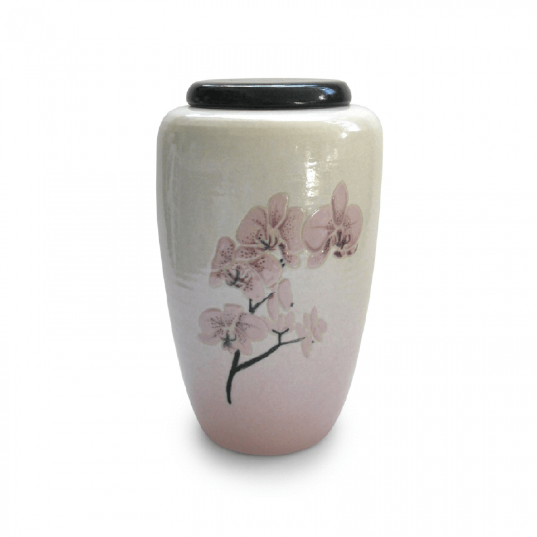 Keramiek urn met orchidee UV15-1-1