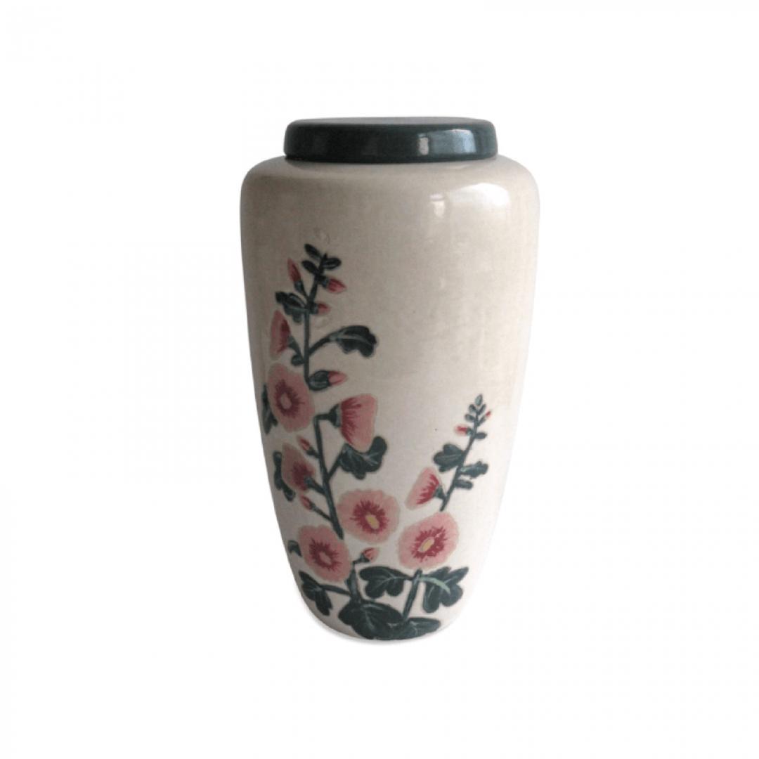 Keramiek urn met stokroos UV16-1-1