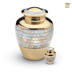Messing mini urn parelmoer schelpen HU184K}
