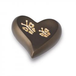 bruin hart mini urn met vlinders HUH116}