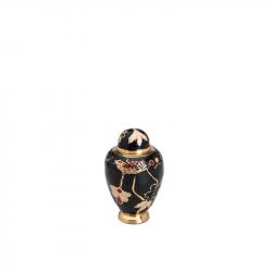 Messing mini urn met bloementak en vogel HU140K}