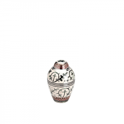 Messing mini urn zilver met wit en bladdecoratie HU137K}