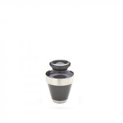 Messing mini urn blauw/grijs met zilverkleurige messing band HU109ZK}