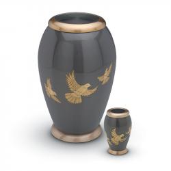 Messing urn antraciet met vogels HU111}