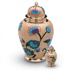 Messing mini urn beige en bloemversiering HU0714K}