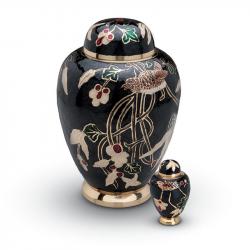 Messing urn met bloementak en vogel HU140}