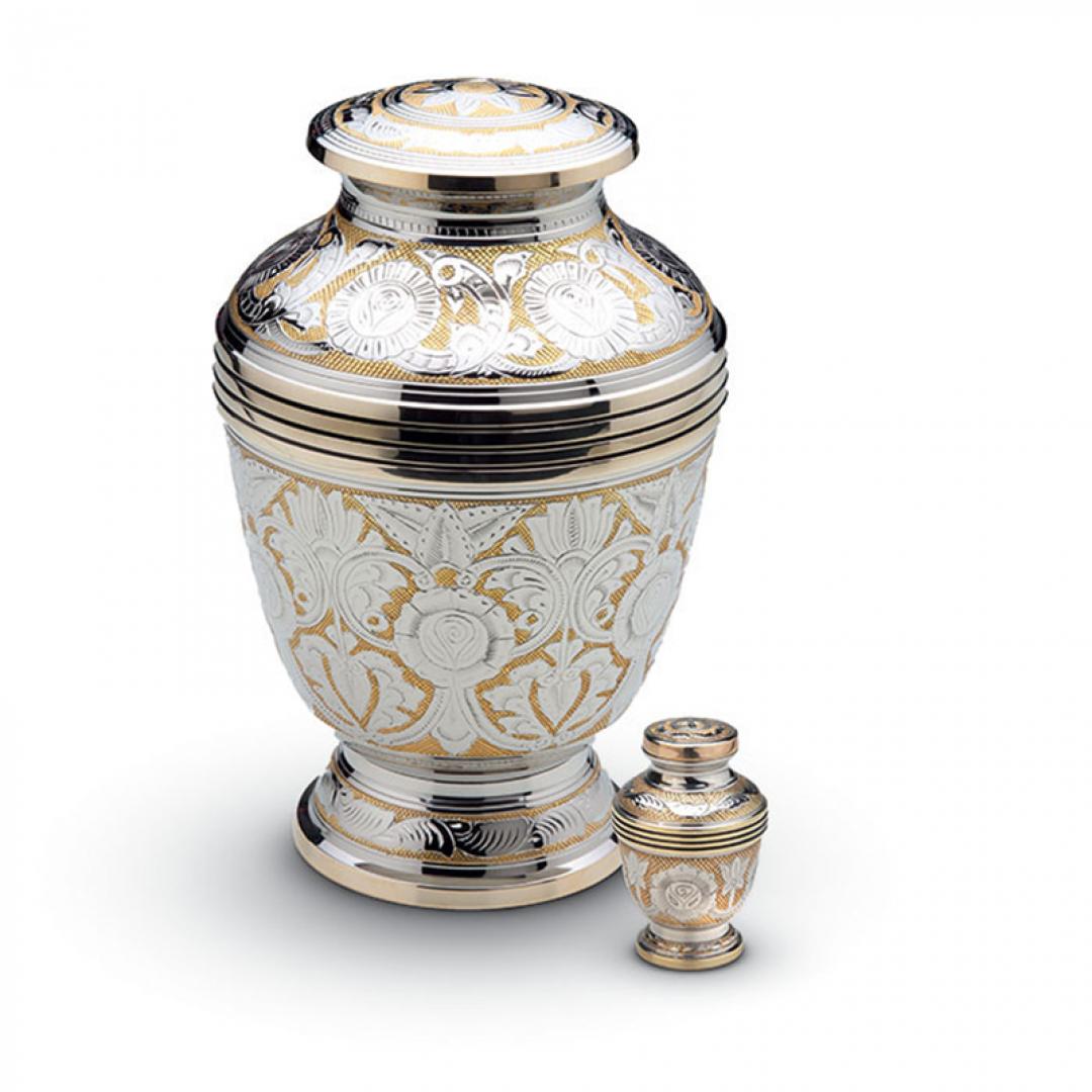 Messing urn bloemmotief HU186