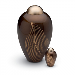 Messing mini urn bruin met palmtak HU240K}