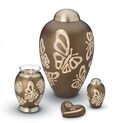 Messing urn bruin met vlinders HU116}
