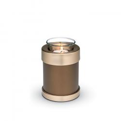 Messing urn bruin met waxinelichthouder CHK107}