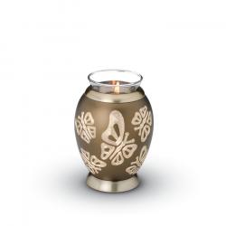 Messing urn bruin waxinelicht met vlinders CHK116}