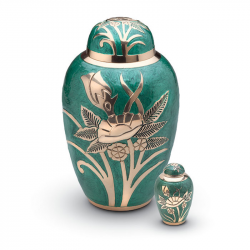 Messing mini urn groen en bloemenprint HU0713K}