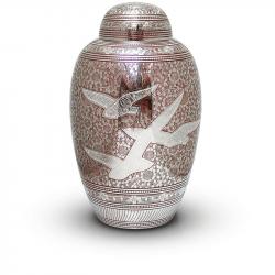 Messing mini urn rood met vogels HU139RK}