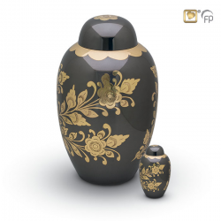 Messing urn zwart en bloemdecoratie HU0711}