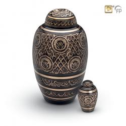Messing mini urn zwart met goudkleurige decoratie HU138K}