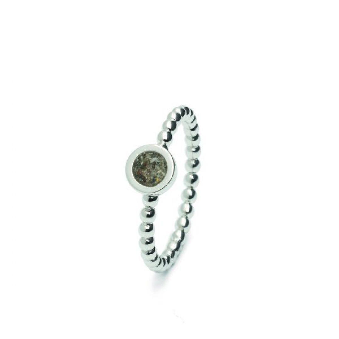 Zilveren bolletjes ring  met rondje - RG 002