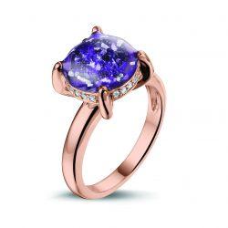 Rosegouden damesring en diamant, RR003}