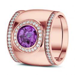 Rosegouden damesring met diamant en aansluitring en hars, RR007+RR006}