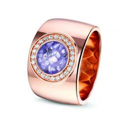 Rosegouden damesring gezet met diamanten, RR007}