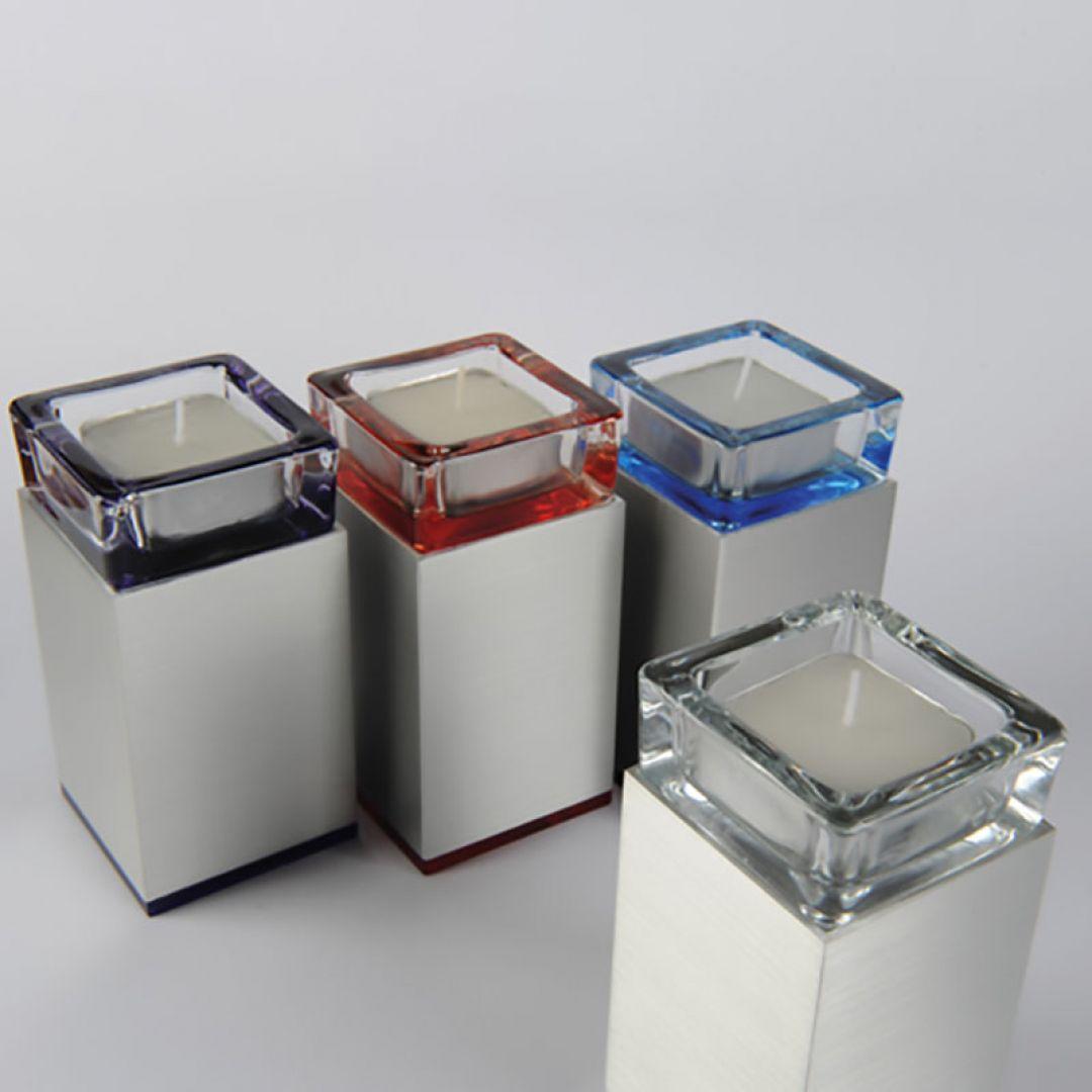 Waxinelichthouder mini urn Square half hoogglans/half satijn 120mm 2545