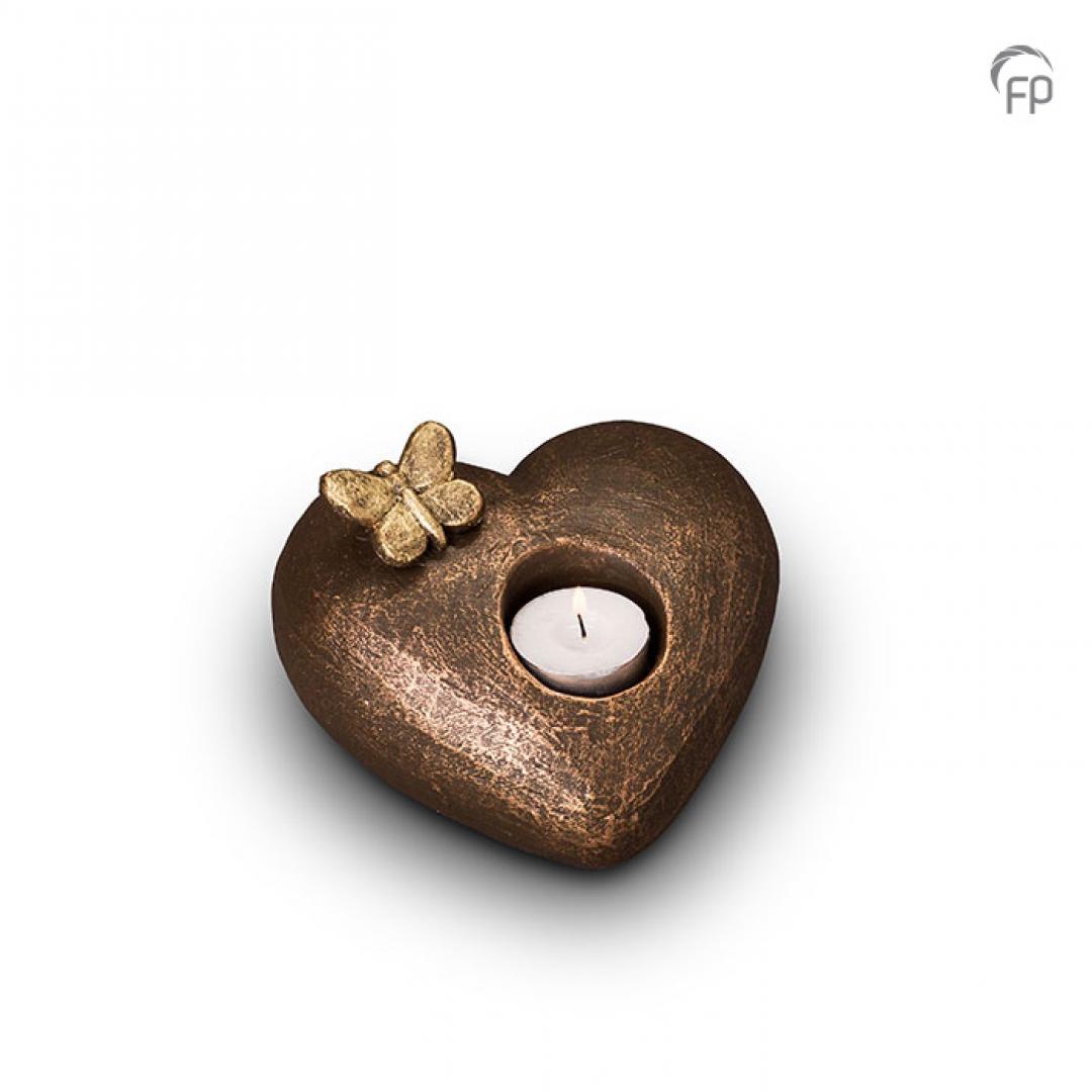 Urn Tederheid hart met vlinder en waxinelicht UGK001AT
