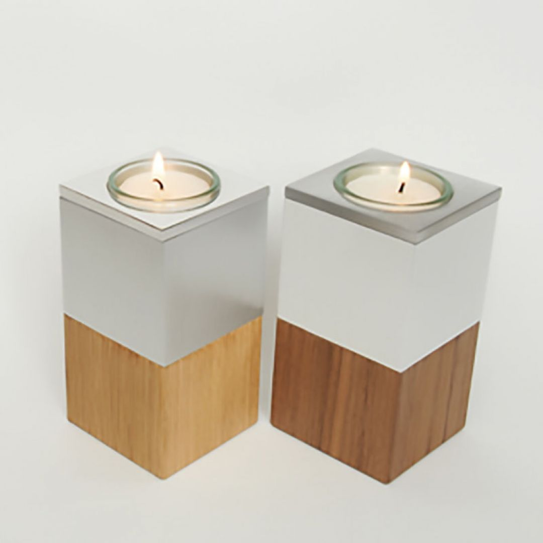 Waxinelichthouder mini urn Wood Walnoothout, hoogglans/satijn 2553