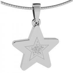 Witgouden gedenkhanger ster met as of haar 9122W}
