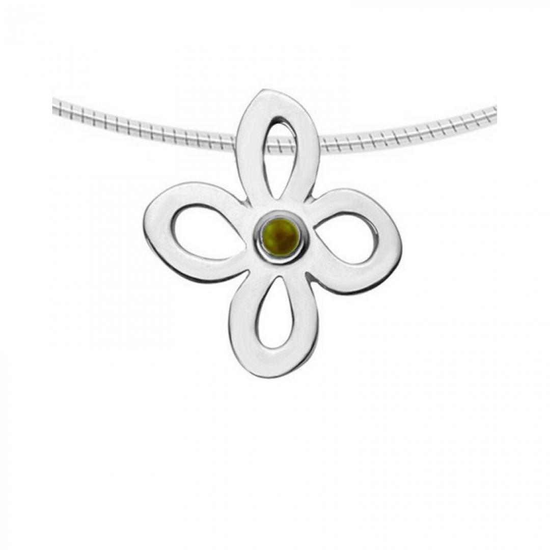 Witgouden glashanger bloem met as of haar  9119W