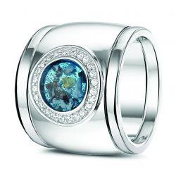 Witgouden damesring met diamant en aanschuifring, RW007+RW005}