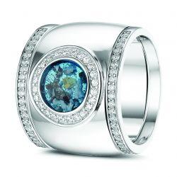 Witgouden damesring met diamant en aanschuifringen, RW007+RW006}