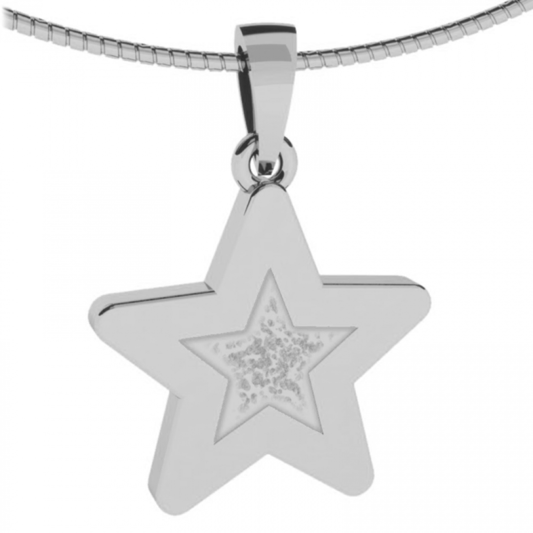 Zilveren gedenkhanger ster met as of haar 9122Z