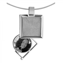 Zilveren medaillon rechthoek 8114Z}