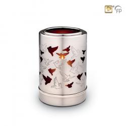 Zilverkleur urn vogels met waxinelicht CHK712}