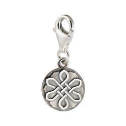 Zilveren charm, lotus bloem, eeuwig duurende knoop 4002}