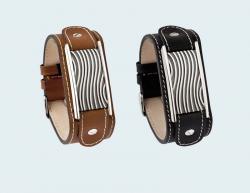 Armband van bruin kalfsleer met asruimte in zilver met golf 406 ABZ}