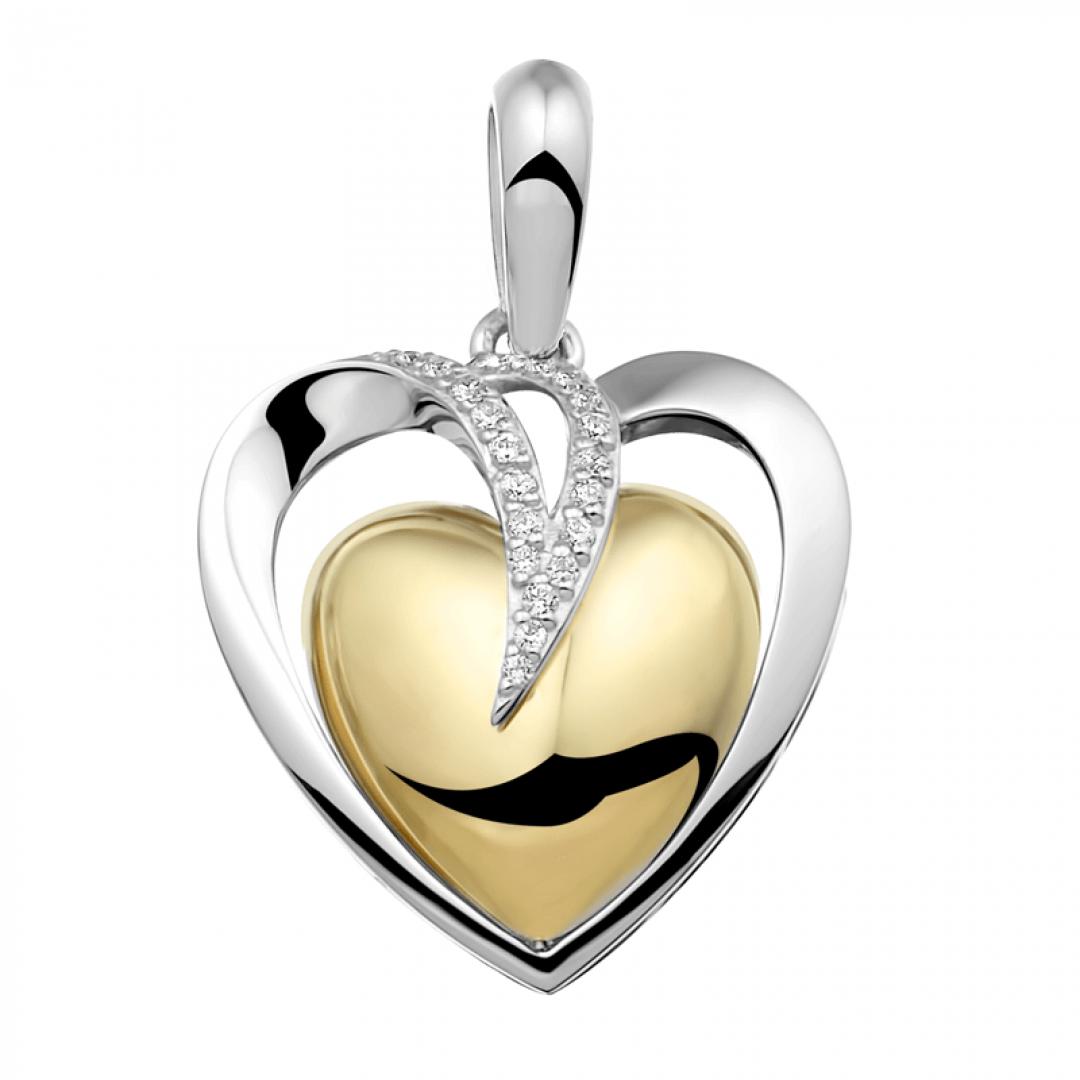 Hartvormige ashanger van zilver en geelgoud verguld met zirkonia's - 110 SB