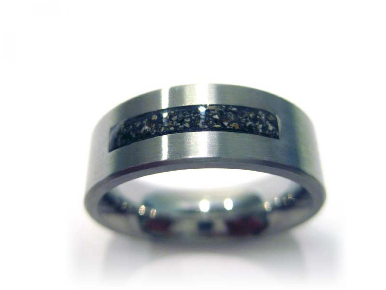 Zilveren ring met brede as streep- RS 006 S