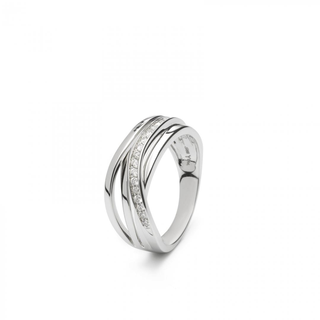 f09a87e35ed Opengewerkte zilveren ring met band van zirkonia - RG 013