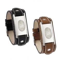 Bruin kalfsleren armband met zilveren plaat voor vingerafdruk 770}