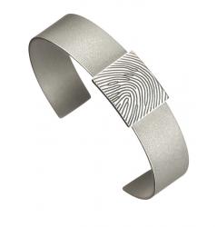Mat stalen armband met zilveren rechthoek voor vingerafdruk 768}