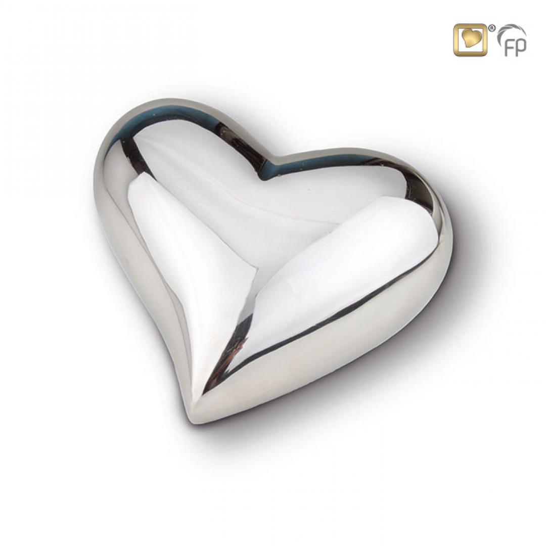 Zilverkleur hart mini urn glanzend HUH022S