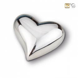 Zilverkleur hart mini urn glanzend HUH022S}