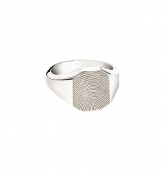 Zilveren ring achtkant voor vingerafdruk 766}