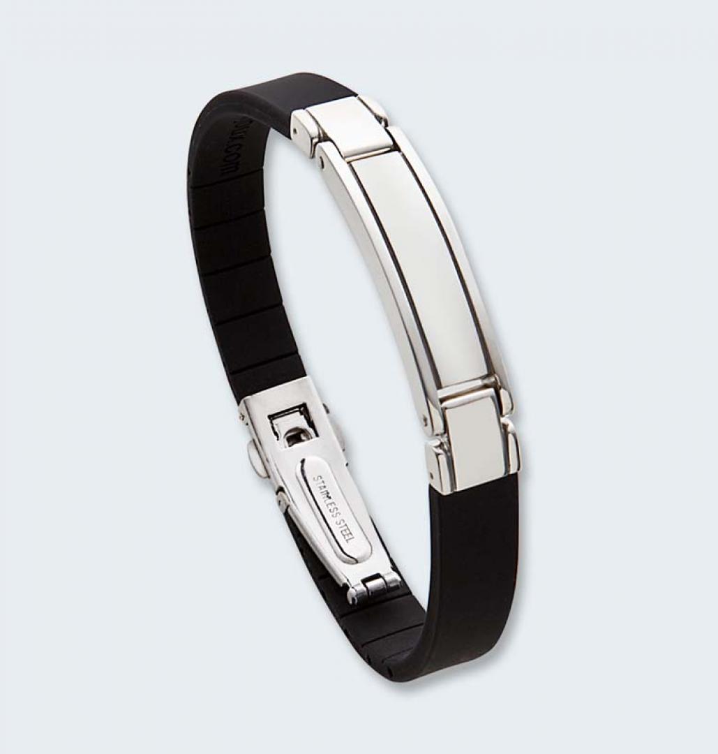 Zwart lederen armband met asruimte in zilver 409 ARZ