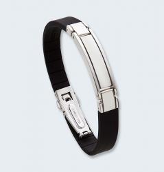 Zwart lederen armband met asruimte in zilver 409 ARZ}