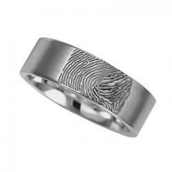 Vingerafdruksieraad, ring met vingerafdruk mat RF 03M}