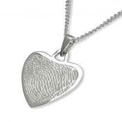 Vingerafdruksieraad, hartvorm hanger met vingerafdruk LFP06-230}