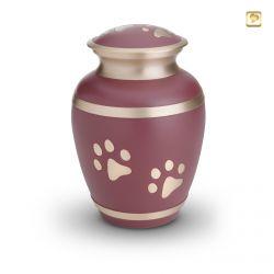 Dieren urn roze met lichtgoudkleurige band en dierenpootjes HU190pl}